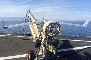 ScanEagle in its catapult launcher