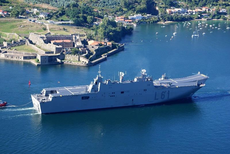 "LHD ""Juan Carlos I"" near San Felipe Castle in the Ferrol estuary"