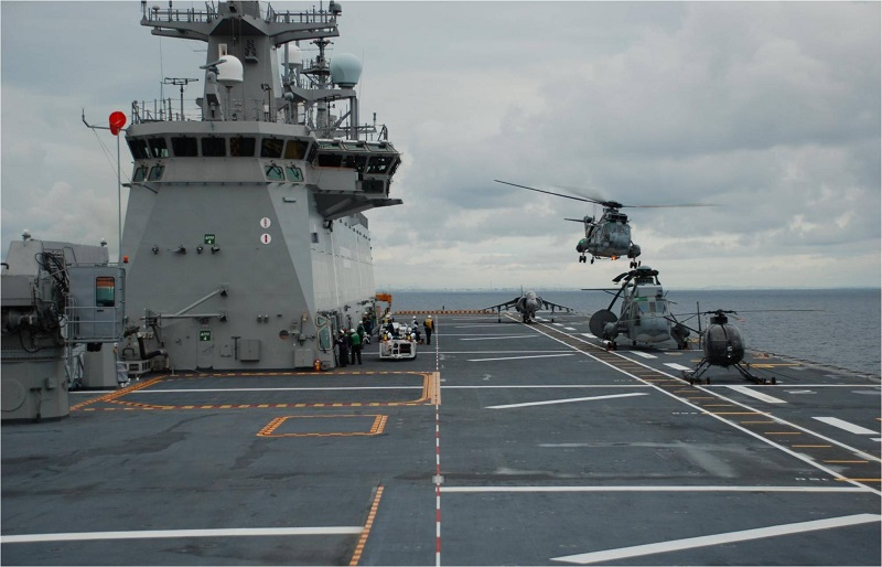 "LHD ""Juan Carlos I"" flight deck with several aircraft"