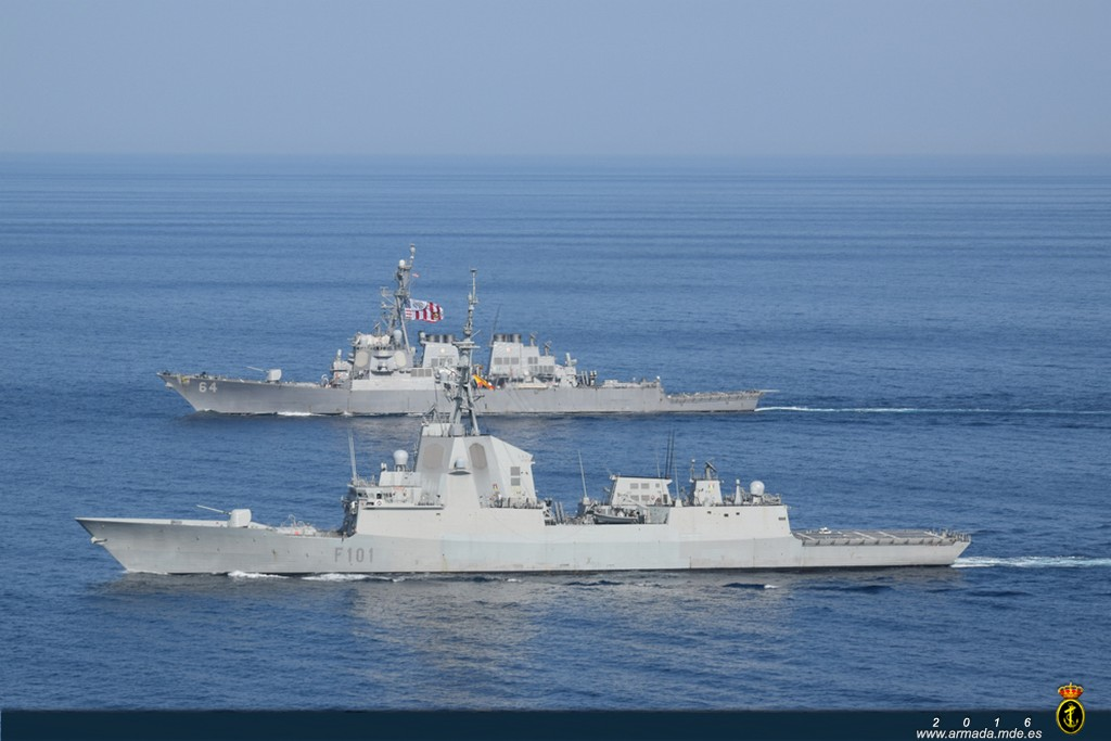 La 'Álvaro de Bazán' y el 'USS Carney' lideraron el ejercicio