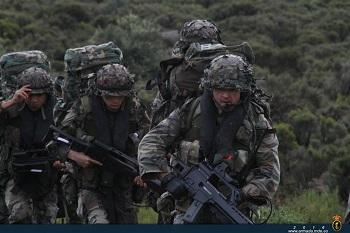 Soldados pertenecientes a compañías de fusiles en plena maniobra