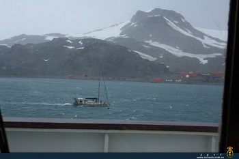 The Dutch sailboat in the vicinity of the Spanish Antarctic Base