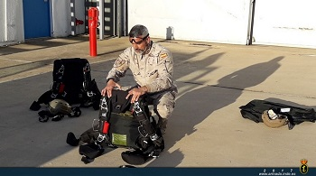 Sergeant first class Periñán prepares his equipment