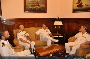 The Commander Australian Fleet with the Chief of Ferrol Naval Station