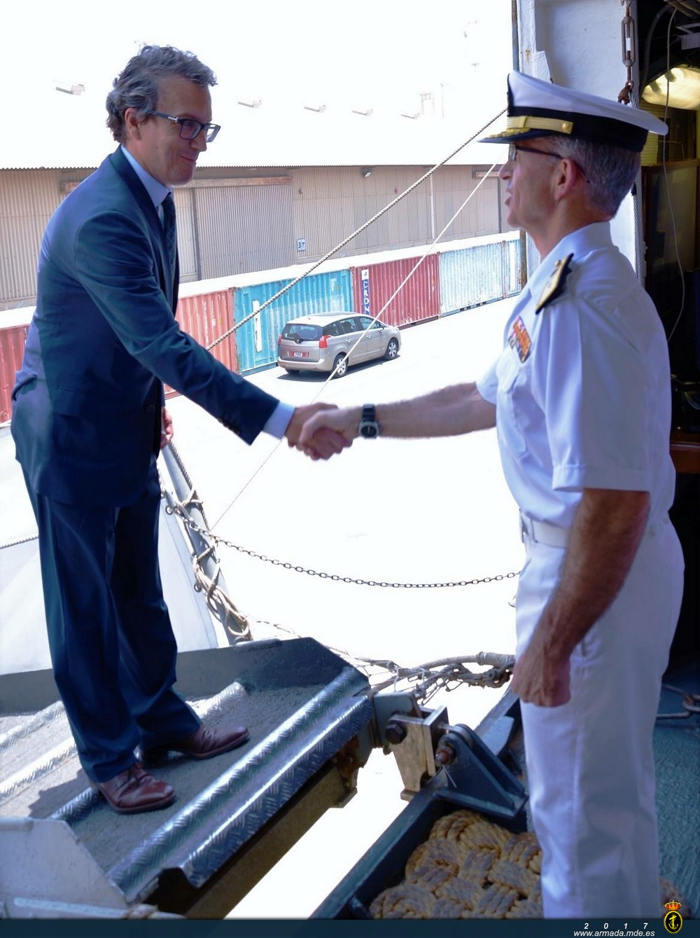 The Spanish Ambassador being welcomed on board the 'Galicia'