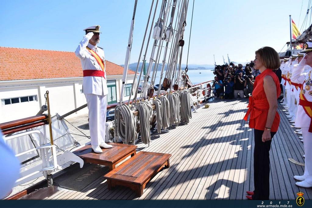 S.M. el Rey, a su llegada al J.S. de Elcano el pasado 16 de julio