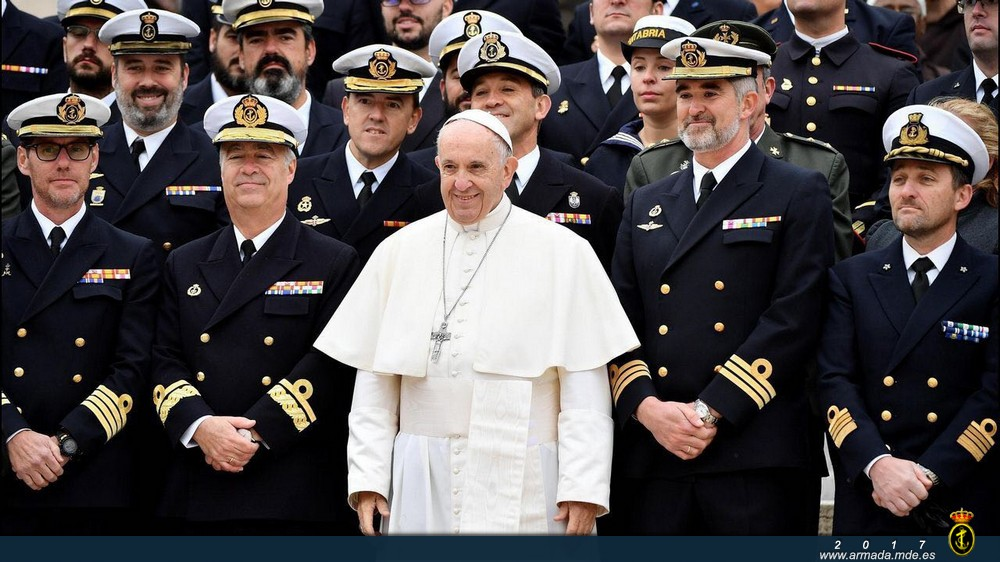 His Holiness Pope Francis with Spanish Navy servicemen participating in Operation 'Sophia'