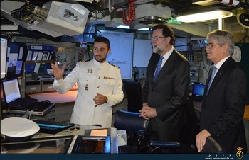 Rajoy during a visit to the Combat Information Center