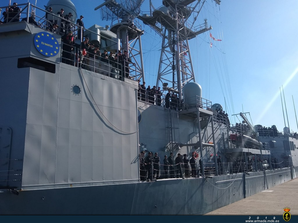 Frigate 'Canarias' returns to Rota after participating in Operation 'Atalanta'.