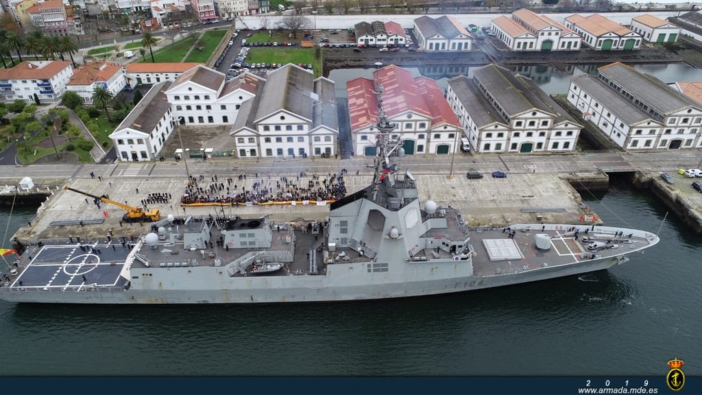Frigate 'Méndez Núñez' returns to Ferrol after a 7-month cruise circumnavigating the globe.
