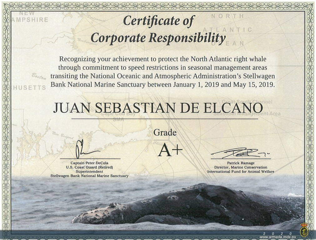 The Spanish Navy training ship 'Juan Sebastián de Elcano' has been rated with the highest grade of Corporate Responsibility awarded by the US National Oceanic and Atmospheric Administration NOAA).