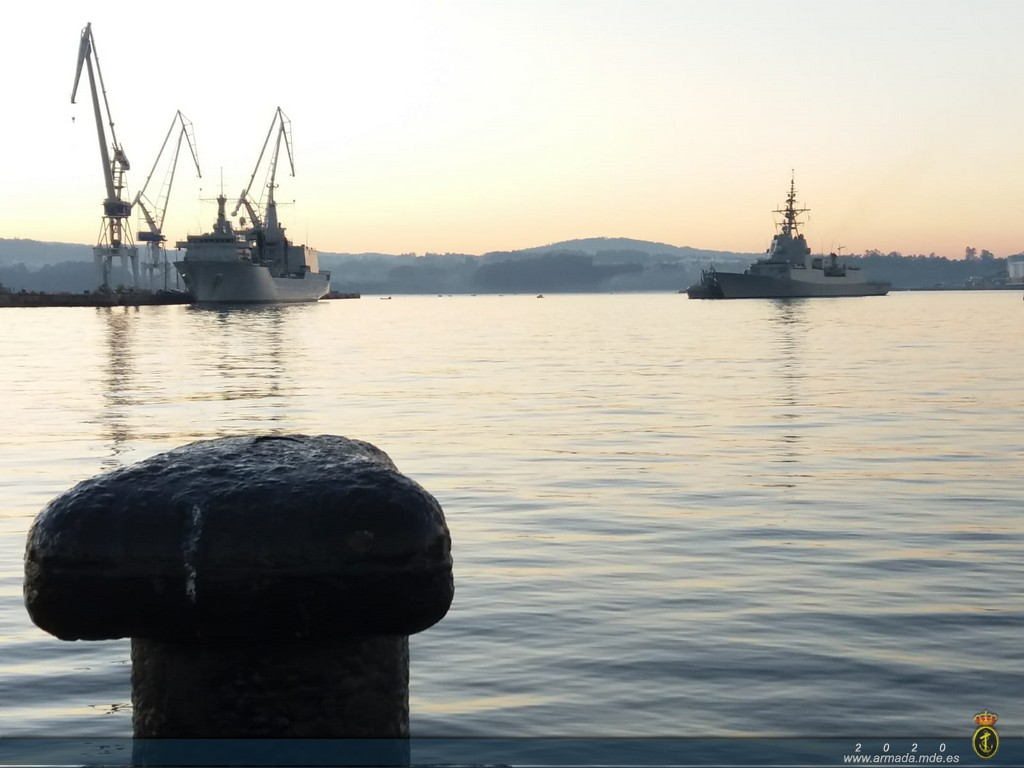 Frigate 'Álvaro de Bazán' returns to Ferrol after her deployment as flagship of SNMG-2.