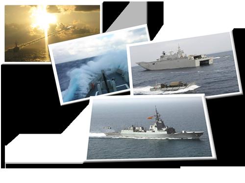 Mosaico con imágenes de buques